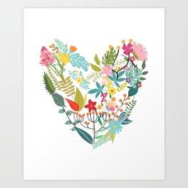 Floral Love Heart Art Print