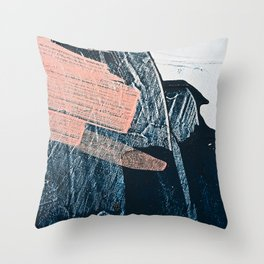 Cadence: a pretty minimal abstract piece in pink blue and white by Alyssa Hamilton Art Throw Pillow