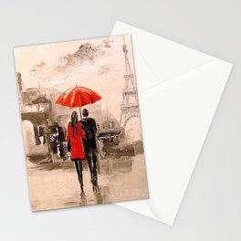 Walk in Paris rain Stationery Cards