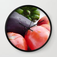 vegetables Wall Clocks featuring Vegetables by Carlo Toffolo