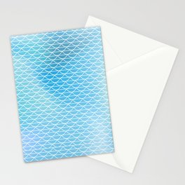White lace on the watercolor background Stationery Cards