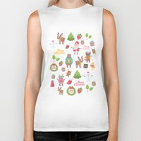 merry christmas Biker Tanks featuring Merry Christmas by Anna Alekseeva kostolom3000
