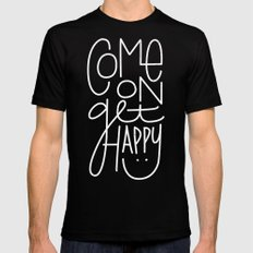 Come On Get Happy MEDIUM Mens Fitted Tee Black