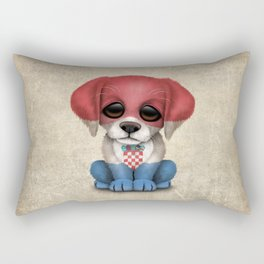Cute Puppy Dog with flag of Croatia Rectangular Pillow