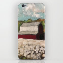 Red Barn in a Cotton Field iPhone Skin