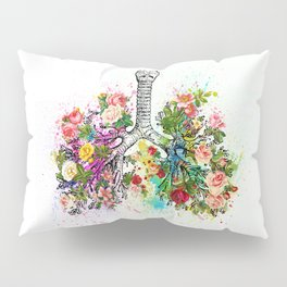Flowers Lungs Skeleton Watercolor Pillow Sham