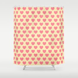 Pink Hearts on Yellow Shower Curtain