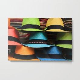 Colorful Handmade Panama Hats Metal Print