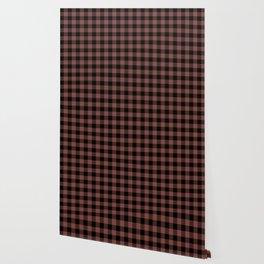 Large Size Black and Henna Brown Western Cowboy Buffalo Check Wallpaper