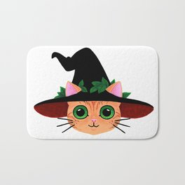 Witch hat cat Bath Mat