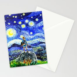 triforce link starry night Stationery Cards