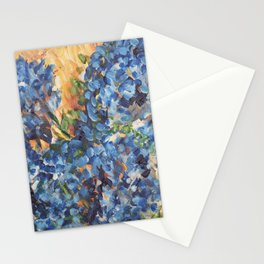 Blue Hydrangea Flowers 2, Blue Abstract, Modern Impressionism Painting Stationery Cards