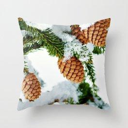 Pine Cones in Winter Throw Pillow