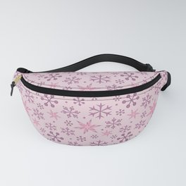 Christmas Mauve Pink Snow Fanny Pack