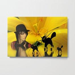 look into a yellow tulip Metal Print