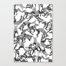 woodland fox party black white Canvas Print