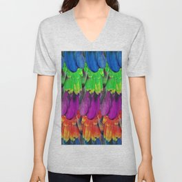 Rainbow Macaw Feathers Unisex V-Neck