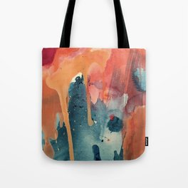 Pour Some Sugar on Me: a colorful mixed media abstract in pinks blues orange and purple Tote Bag