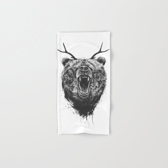 Angry bear with antlers Hand & Bath Towel
