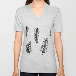 Inked Feather Pattern Unisex V-Neck