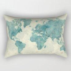 World Map Blue Vintage Rectangular Pillow