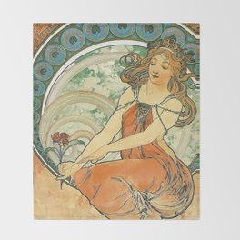 Vintage poster - Woman with flower Throw Blanket