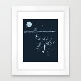 Pod of Killer Whale (Orca) and small boat in midnight ocean scene Framed Art Print