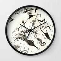submarine Wall Clocks featuring submarine by Mariana Beldi