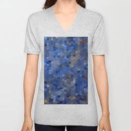 Blue mosaic tile abstract Unisex V-Neck