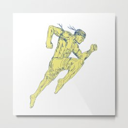 Muay Thai Fighter Kicking Side Drawing Metal Print