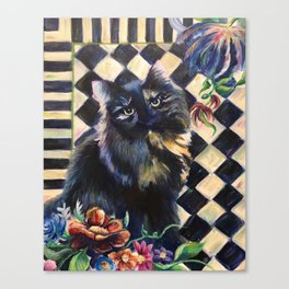 Cat Portrait in the Style of Mackenzie-Childs Canvas Print