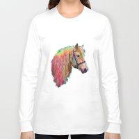 pony Long Sleeve T-shirts featuring Rainbow Pony. by HelenMacNee