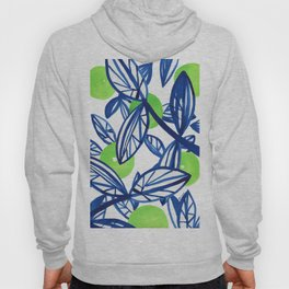 Blue and lime green abstract apple tree Hoody