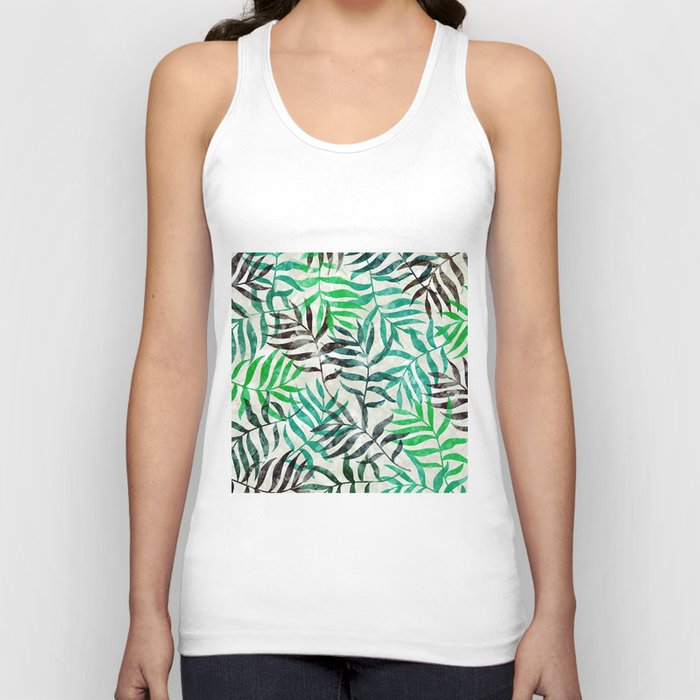 Watercolor Tropical Palm Leaves II Unisex Tank Top