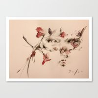 lucy Canvas Prints featuring Lucy by Oriane Jouët