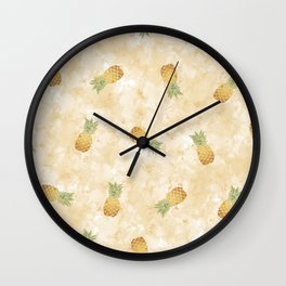 Golden Watercolor Pineapple Wall Clock