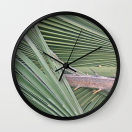 Palm leaves natural pattern Wall Clock