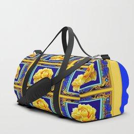 BLUE FRAMED YELLOW YELLOW GARDEN FLOWERS ART Duffle Bag