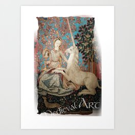 Medieval Art - Lady and the Unicorn in Turquoise Art Print
