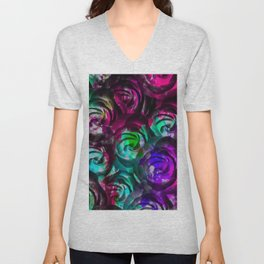 closeup rose texture pattern abstract background in red purple blue Unisex V-Neck