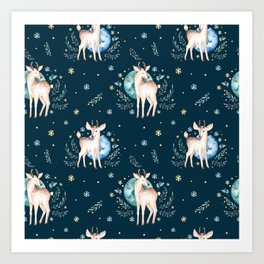 Christmas deer pattern Art Print