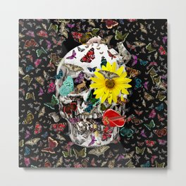 Skull Flowers Animals on Black | Butterflies Metal Print