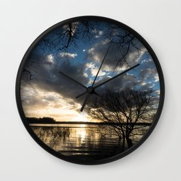 Sunset in the Los Padres lagoon. Wall Clock