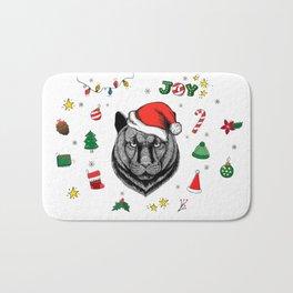 Merry Christmas Panther Bath Mat
