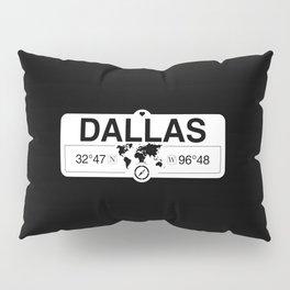 Dallas Texas Map GPS Coordinates Artwork with Compass Pillow Sham