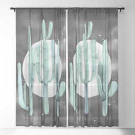 Cactus Nights Full Moon Starry Sky Sage by Nature Magick Sheer Curtain