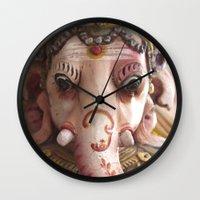 ganesha Wall Clocks featuring Ganesha by dAnielles flow