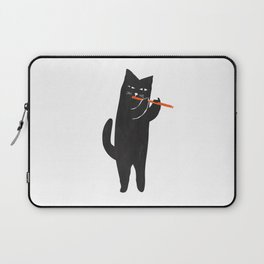 Black cat with flute Laptop Sleeve