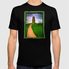 Path To The Top Of Magical Glastonbury Tor Mens Fitted Tee Black MEDIUM