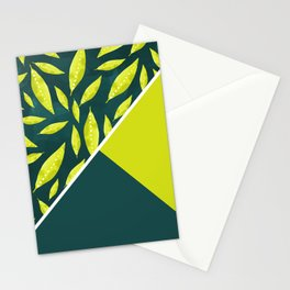Neon green leaves color block Stationery Cards